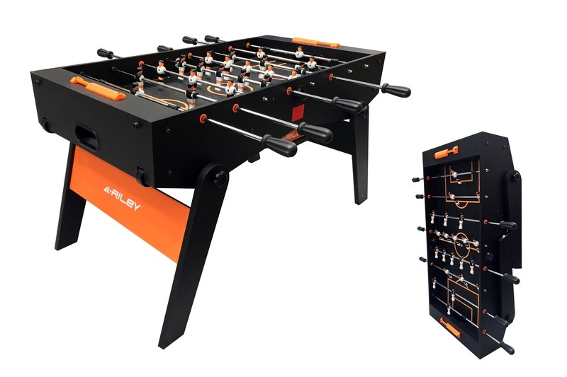 Riley Folding Football Table - Full Size - 4ft 6in - Black/ Orange - Folds Flat
