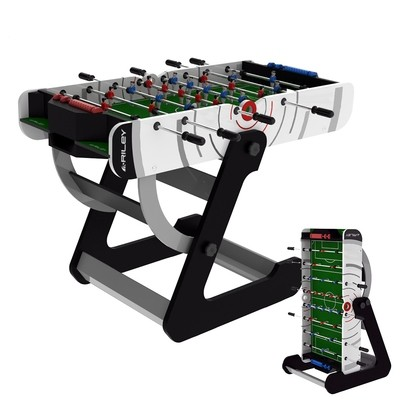 Riley VR-90 Folding Football Table - 4ft - Vertical Folding - white/black with green playfield