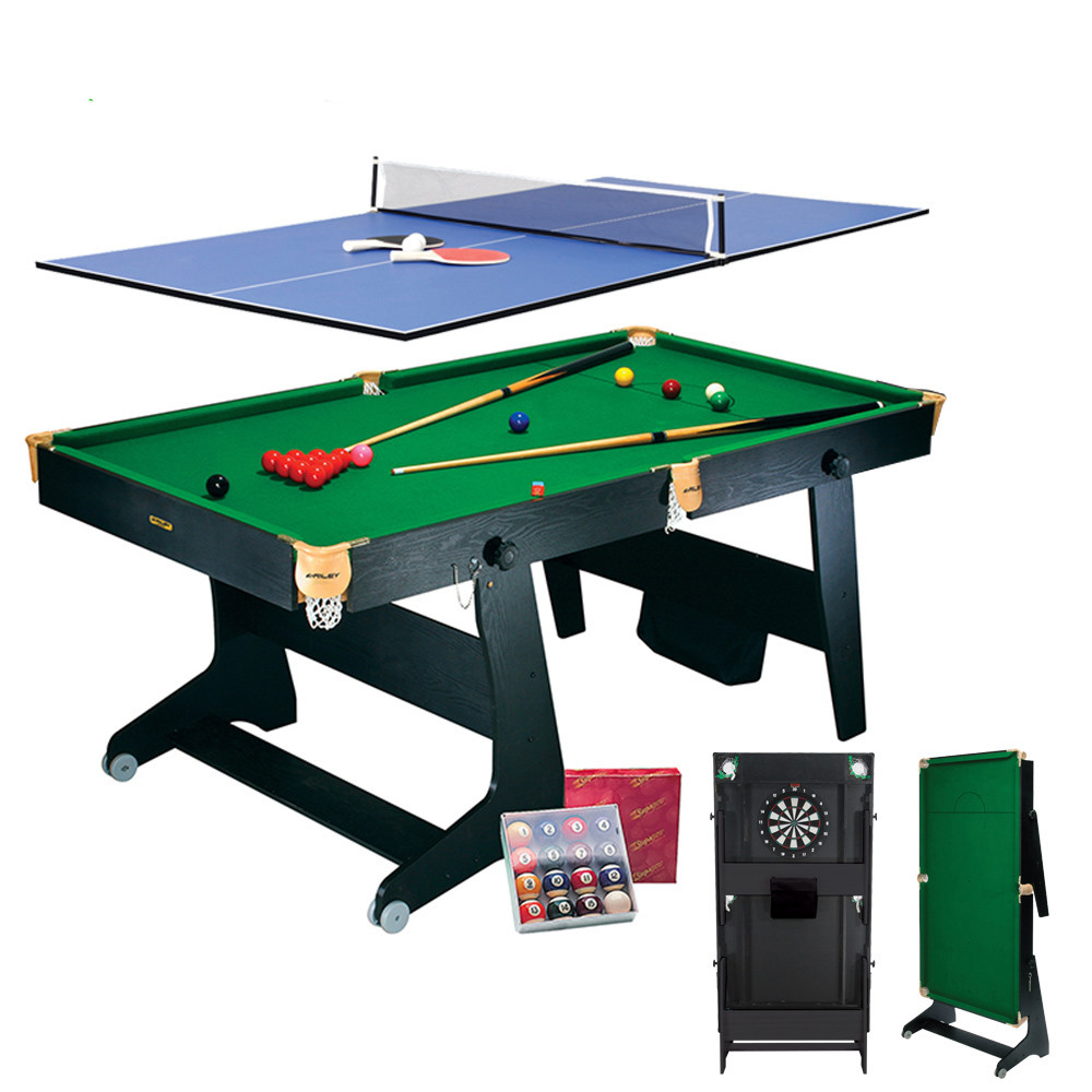 Riley Folding Snooker Table - 6ft - 4 in 1 - snooker, pool, table tennis, darts - Vertical Folding - Black with Green Cloth