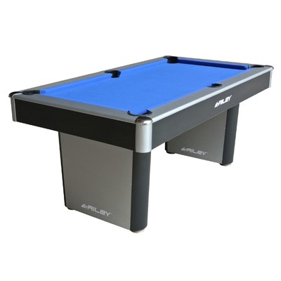 Riley American Pool Table - Black/ Silver with Blue Cloth - 6ft - Fixed Leg