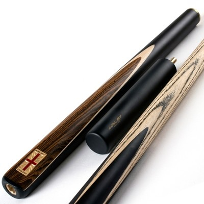 Riley England 3 Piece Snooker Cue and Hard Case 3/4 Cut- Ebony Butt with 9.5mm Tip - 145cm - Black/ Dark Wood