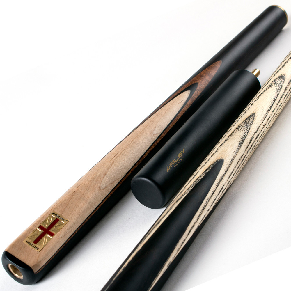Riley England 3 Piece Snooker Cue and Hard Case 3/4 Cut- Ebony Butt with 9.5mm Tip - 145cm - Black/ Maple Wood