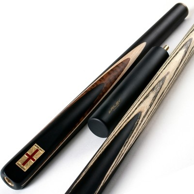 Riley England 3 Piece Snooker Cue and Hard Case 3/4 Cut- Ebony Butt with 9.5mm Tip - 145cm - Black/ Dark Wood/ Maple