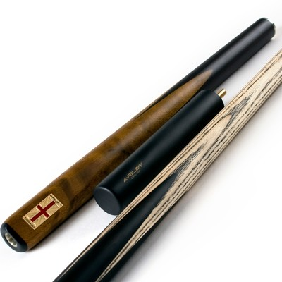 Riley England 3 Piece Snooker Cue and Hard Case 3/4 Cut- Ebony Butt with 9.5mm Tip - 145cm - Black/ Brown Exotic Wood