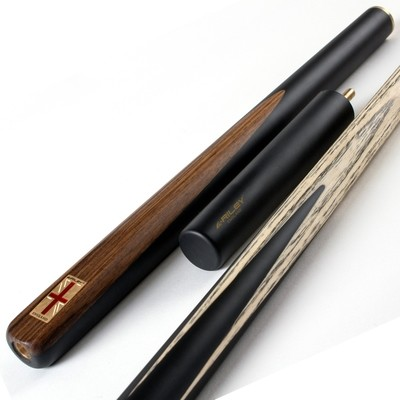 Riley England 3 Piece Snooker Cue and Hard Case 3/4 Cut- Sapele Mahogany Butt with 9.5mm Tip - 145cm - Black/ Dark Wood