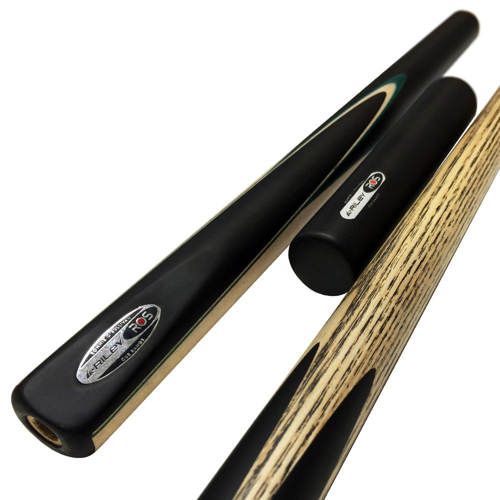 Riley Ronnie O'Sullivan 3 Piece Snooker Cue and Hard Case 3/4 Cut- Ebony Butt- 9.5mm Tip - 145cm - Black/ Grey/ Natural Wood