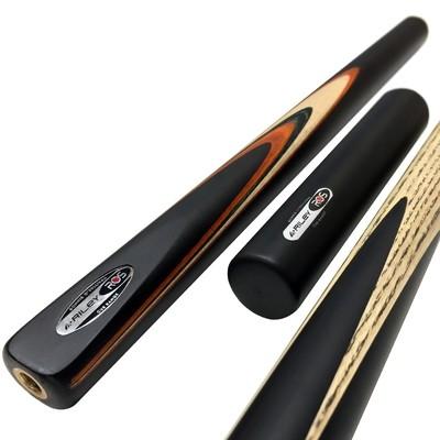 Riley Ronnie O'Sullivan 3 Piece Snooker Cue and Hard Case 3/4 Cut- Ebony Butt- 9.5mm Tip - 145cm - Black/ Tan/ Natural Wood