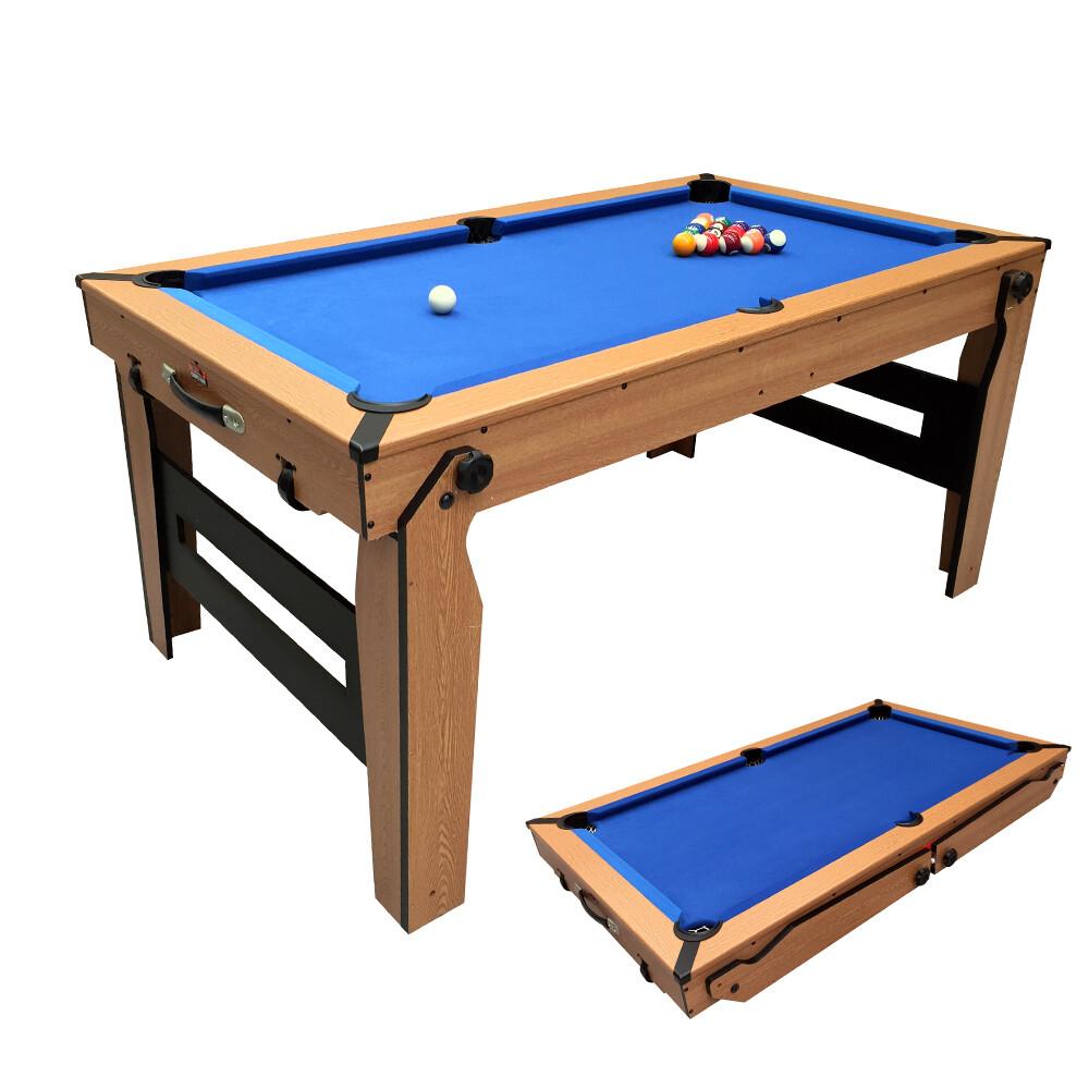 BCE Folding Pool Table - Blue Cloth/ Oak Finish 6ft - Folds Flat