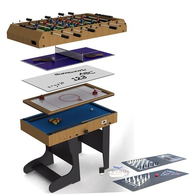 Riley 12 in 1 Multi Games Table - 4ft - Vertical Folding - Natural Wood Finish/ Black Legs