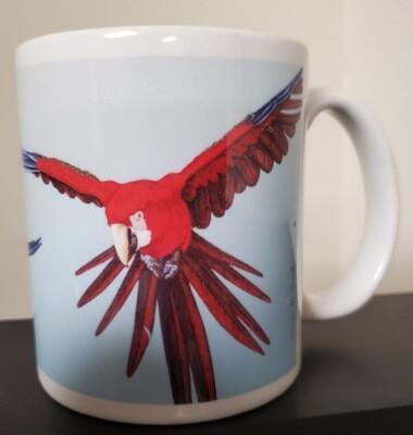 Flying Green-winged Macaw  - Ceramic Mug