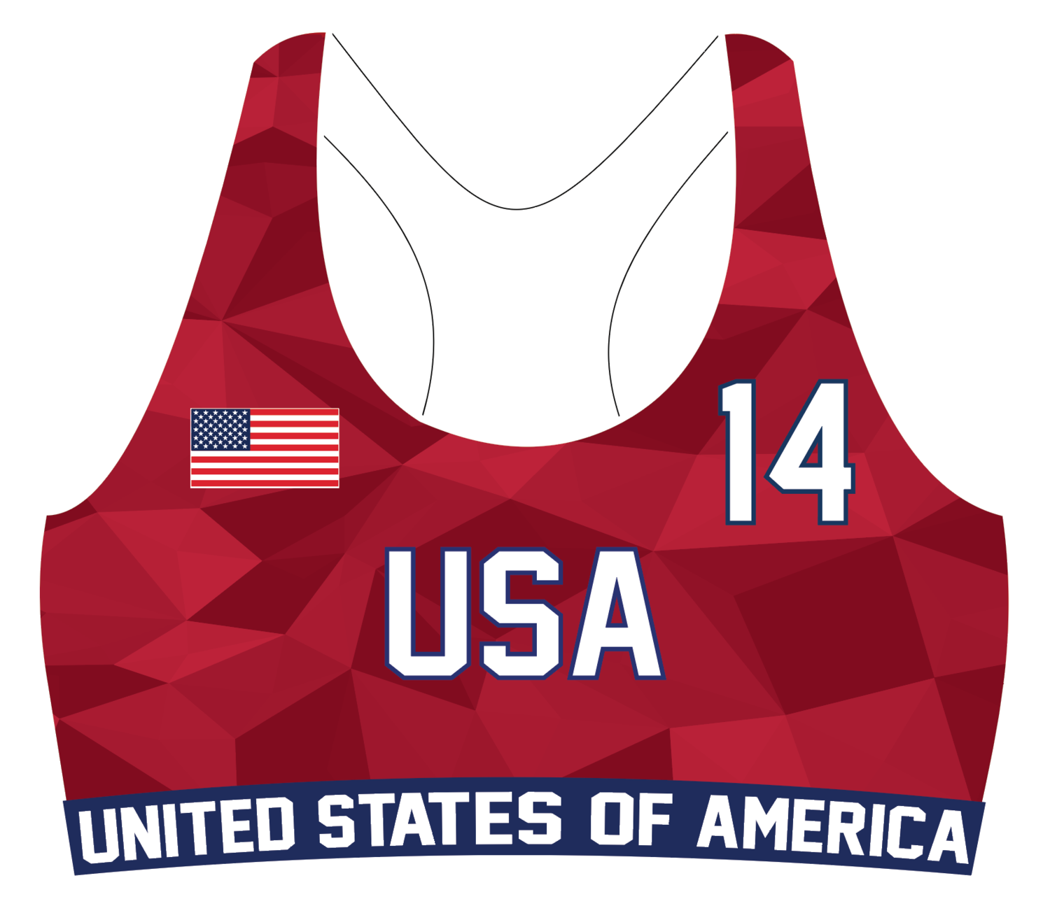 USA Beach Handball OFFICIAL Game Sports Bra Uniform Top
