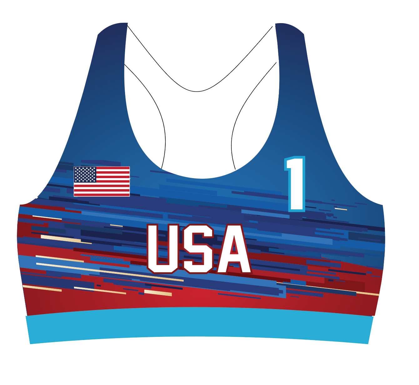 USA Fourth of July Sports Bra Uniform Top