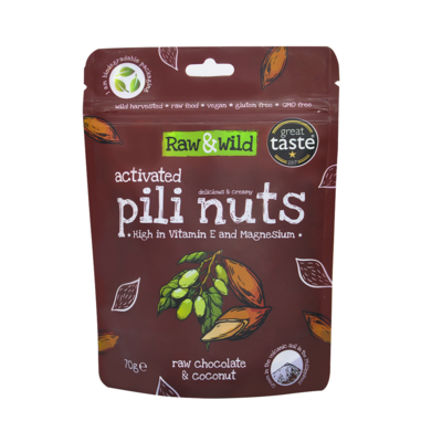 Organic Activated Raw Chocolate & Coconut Pili Nuts - 70g