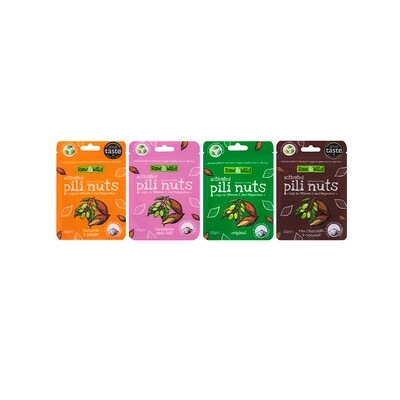 Raw & Wild Activated Pili Nibbles Snack Box Set - 4 x 22g