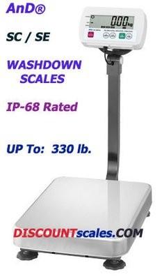 A&D Weighing® SE-150KAM Washdown Bench Scale  (330 lb. x 0.05 lb.)