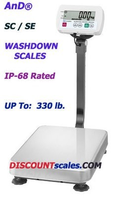 A&D Weighing® SE-150KAL Washdown Bench Scale  (330 lb. x 0.05 lb.)
