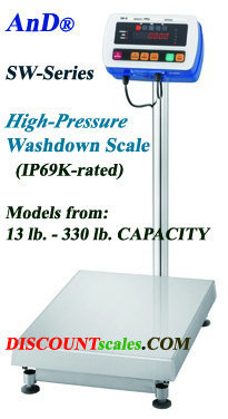 A&D Weighing® SW-15KS Washdown Bench Scale (33 lb. x 0.002 lb.)
