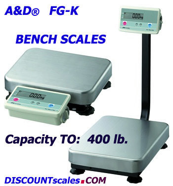 A&D Weighing® FG-150KBM Bench Scale (300 lb. x 0.02 lb.)