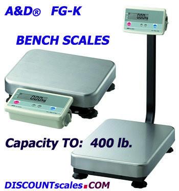 A&D Weighing® FG-150KBMN Bench Scale  (300 lb. x 0.1 lb.)