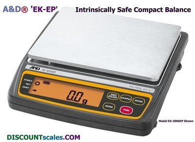 A&D Weighing® EK-12KEP Explosion-Proof Scale {26 lb. (12kg.)  x 1.0g.}