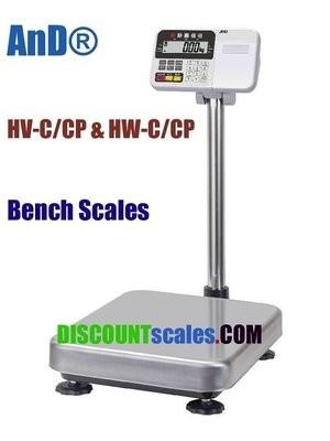 A&D Weighing® HV-60KC Bench Scale      (30 / 60 / 150 lb. x 0.01 / 0.02 / 0.05 lb.)