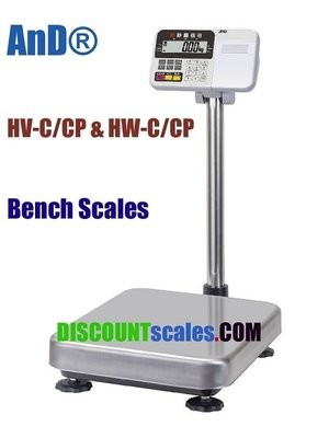A&D Weighing® HV-60KCP Bench Scale      (30 / 60 / 150 lb. x 0.01 / 0.02 / 0.05 lb.)