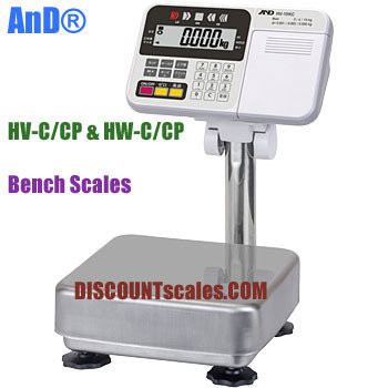A&D Weighing® HV-200KCP Bench Scale      (150 / 300 / 500 lb. x 0.05 / 0.1 / 0.2 lb.)