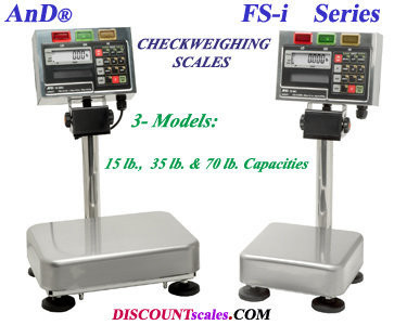 A&D Weighing® FS-30KiN CheckWeighing Scale (70 lb. x 0.02 lb.)