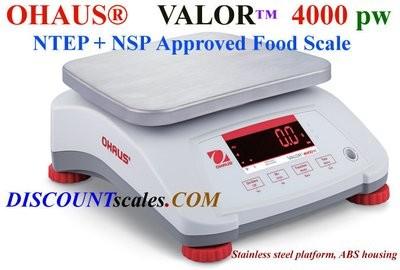 Ohaus® V41PWE3T Valor™ 4000 Food Scale    (6.0 lb. x 0.001 lb.)