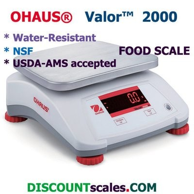 Ohaus® V22XWE1501T Valor™ 2000 Food Scale     (3.0 lb. x 0.0005 lb.)