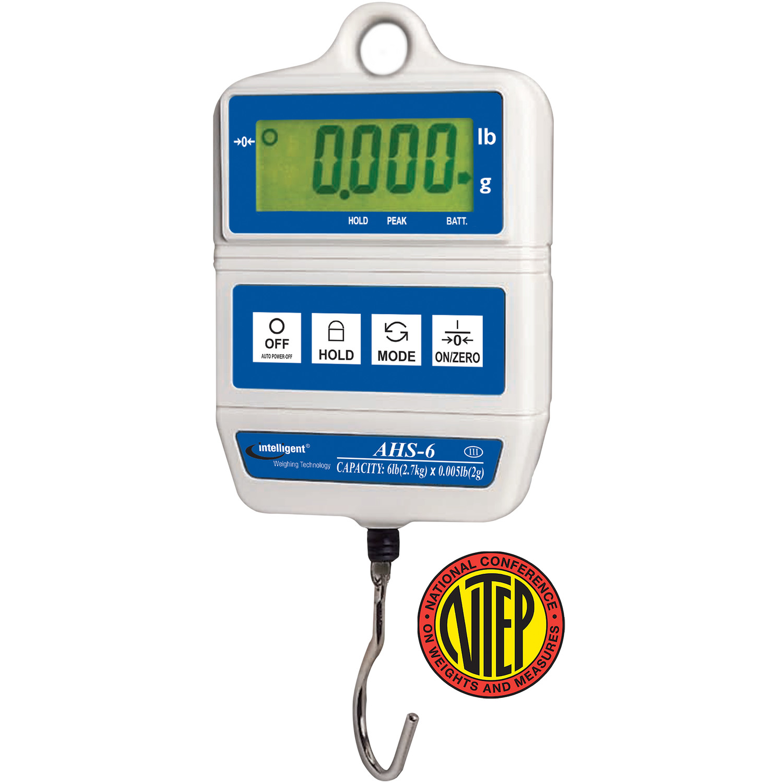 Intelligent Weighing® AHS-6 NTEP Digital Hanging Scale     (6 lb. x 0.005 lb.)