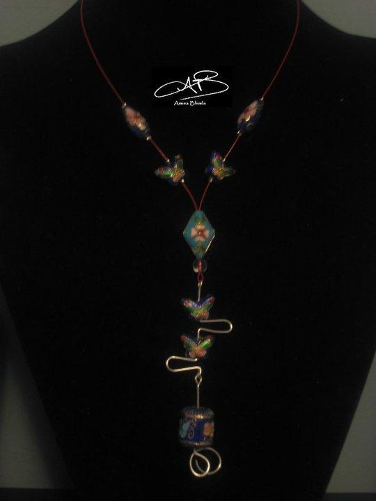 Blue Cloisonné Necklace/Collier Cloisonné bleu