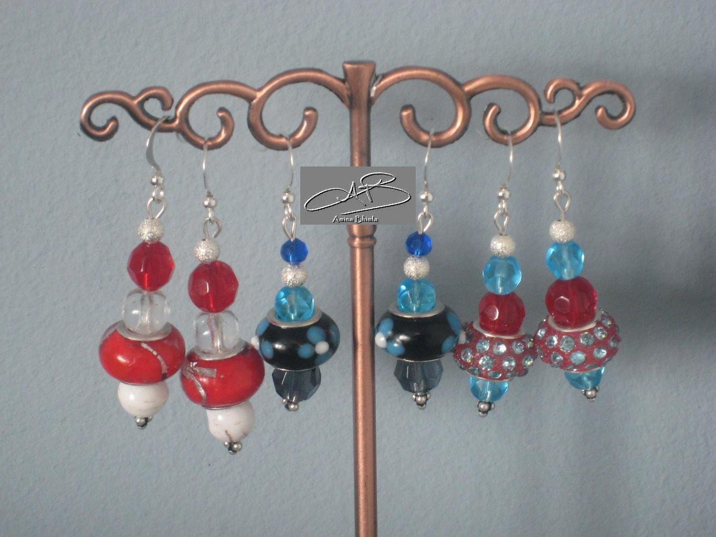 LAMPWORK EARRINGS- several colors/  BOUCLES D'OREILLE AU CHAMULEAU - en plusieurs couleurs