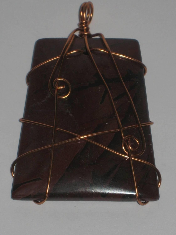2 THE ANIMAL WITHIN PENDANTS: Jasper stone with copper wire/ 2 L'ANIMAL QUI DORT: Le pierre de jaspe avec fil de cuivre