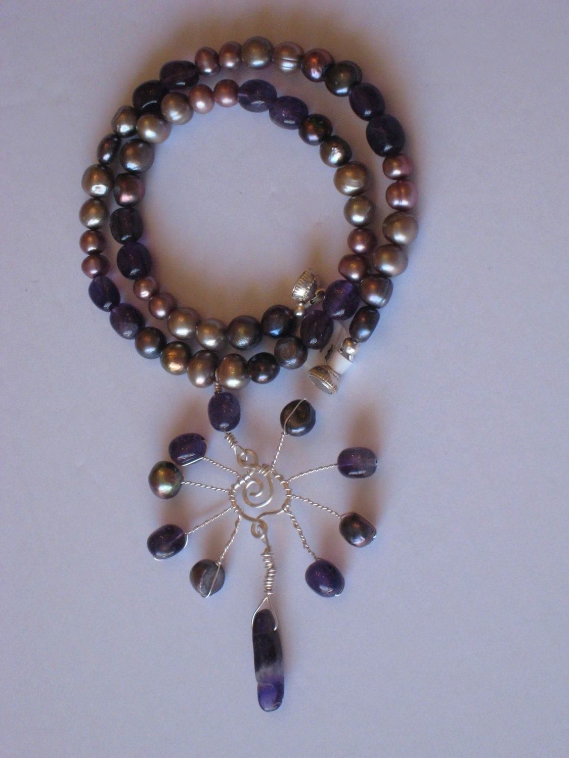 AMETHYST PEARL SPIRAL NECKLACE 2B/ COLLIER AMETHYSTE PERLES SPIRALE 2B