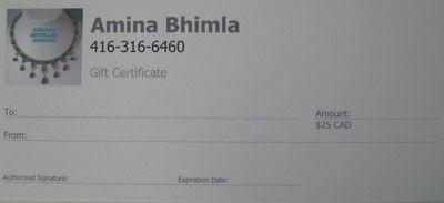 $25 Gift Certificate/ Certificat-cadeau