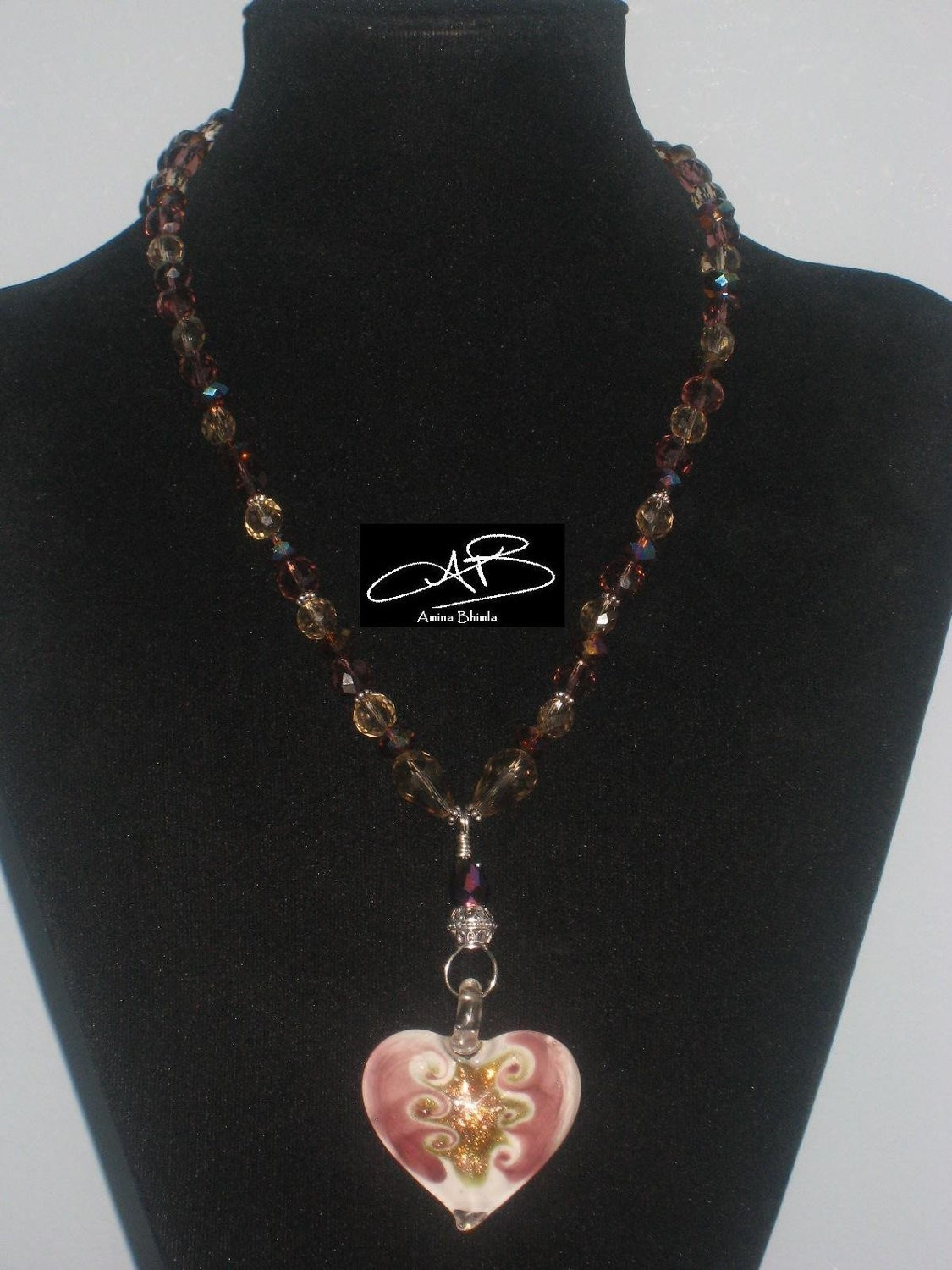 PINK GOLD FLAMED HEART NECKLACE/COLLIER AVEC PENDENTIF DE COEUR MURANO EN ROSE