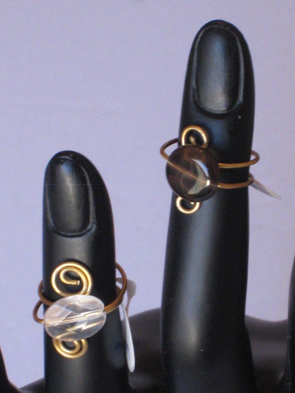 2 QUARTZ TOE RINGS/ 2 ORTEIL BAGUES
