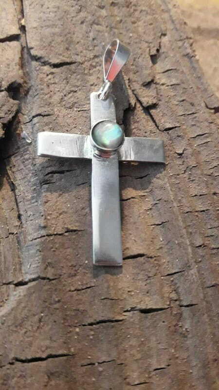 Silver Cross With Gem