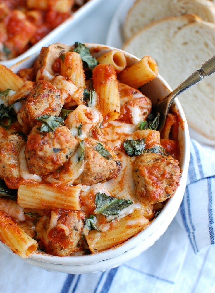 Mother's Day Family Style Baked Pasta with Meatballs
