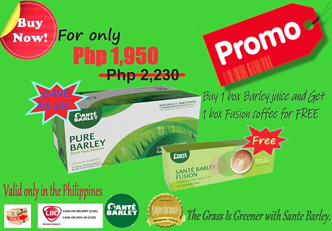 🔥🔥🔥Hot Deal Promo🔥🔥🔥  Buy 1 Box Pure Barley Juice and  GET 1 Box Sante Fusion Coffee for FREE!