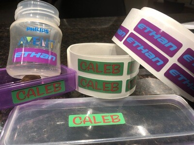 60 Personalised waterproof name labels 15x50mm - Commercial Quality
