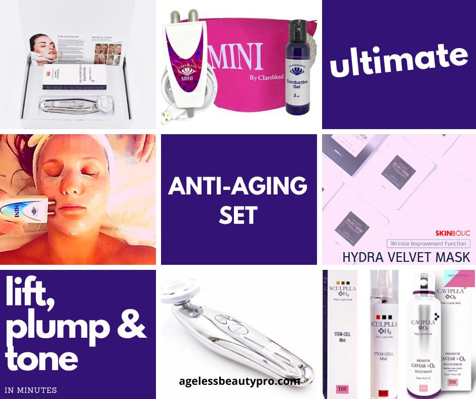 ULTIMATE ANTI-AGING SET - Time Master Pro, Clareblend MINI, Sculplla, PLLA Masks