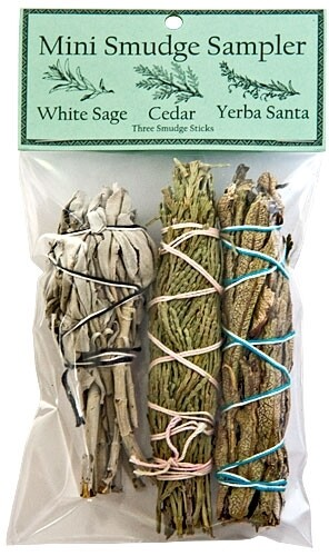"Mini Smudge Sampler 4""L (White Sage, Cedar, Yerba Santa) (Pack of 3)"