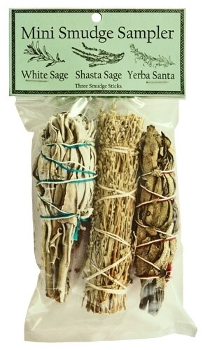 "Mini Smudge Sampler 4""L (White Sage, Shasta, Yerba Santa) (Pack of 3)"