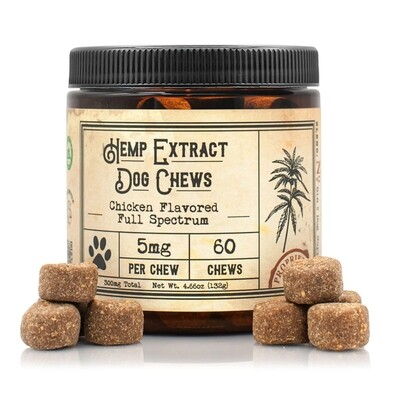 5mg Hemp Extract Dog Chews (Chicken Flavored) (5mg/60ct)