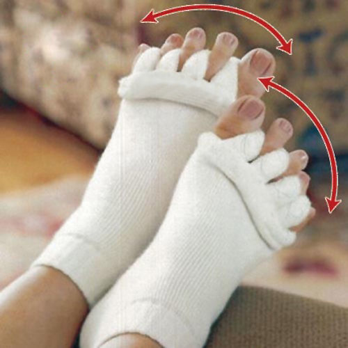 Yoga GYM Massage Open Five Toe Separator Socks Foot Alignment Pain Relief