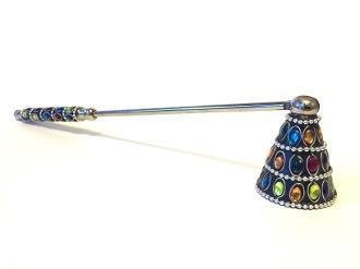 """CANDLE SNUFFER, MULTI-COLOR JEWELED (12"""" x 1.75"""")"""