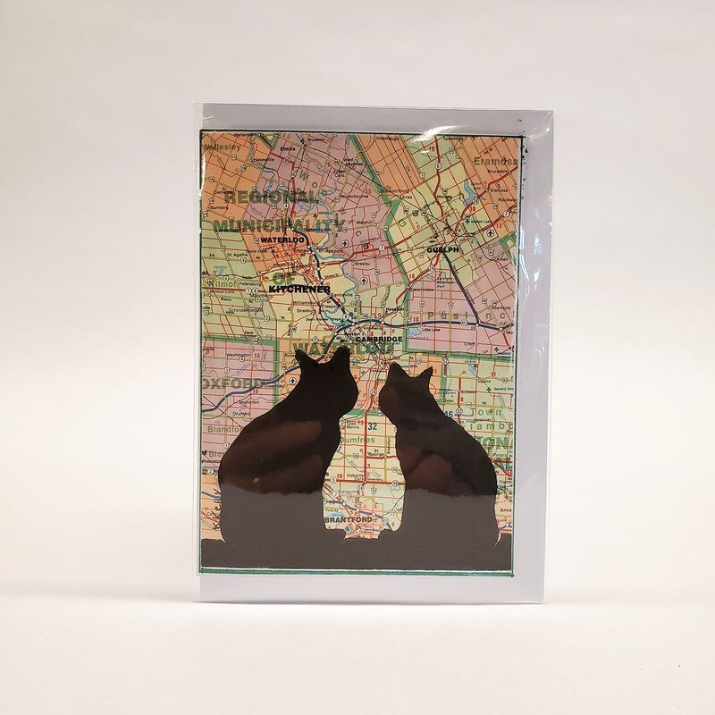 Cat on a Map Card