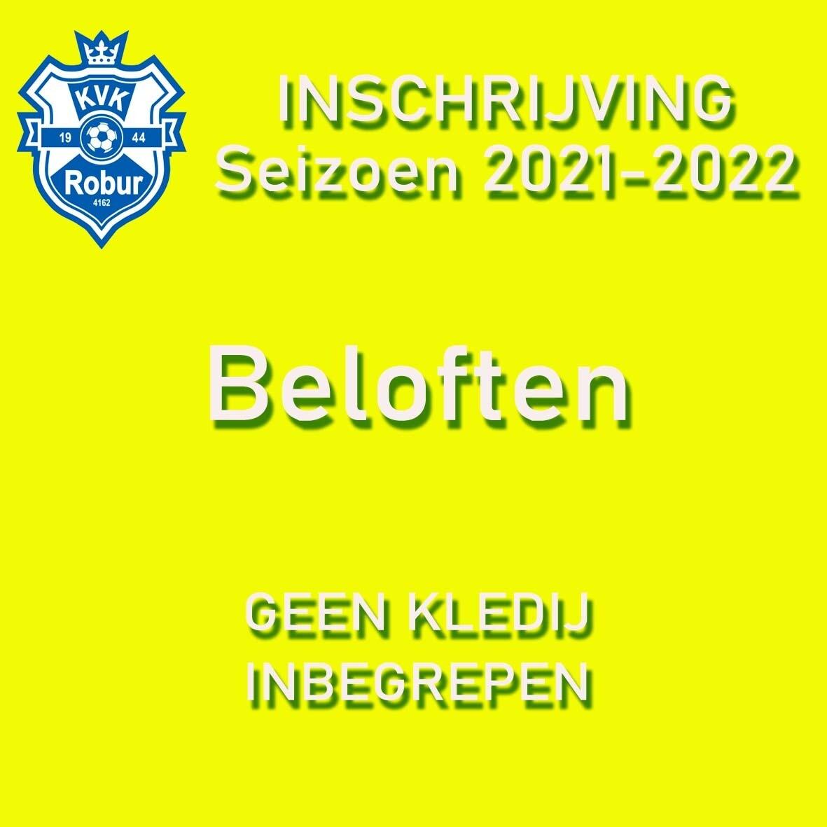 Inschrijving Seizoen 2021 - 2022  Beloften